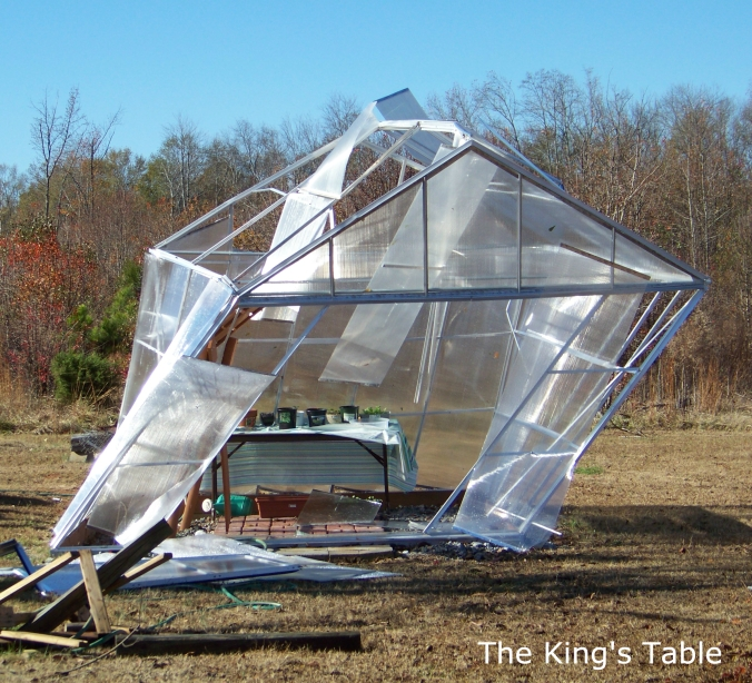 The greenhouse was destroyed in a tornado. | The King's Table